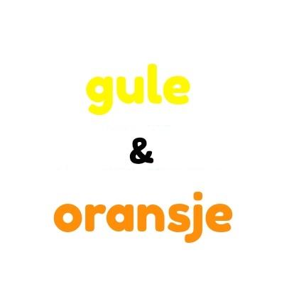 Gule og oransje plastknapper